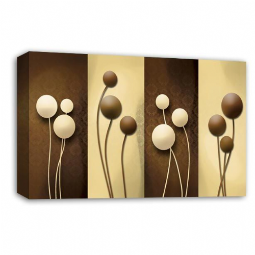 Floral Abstract Wall Art Picture Brown Cream Grey Flower Print